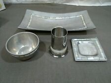 Aluminum 4 Piece  Bath Accessories Set mother of Pearl