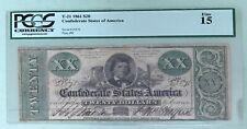 1861 Original Hand Signed CIVIL WAR Confederate T-21 $20 Twenty Dollar PCGS FINE