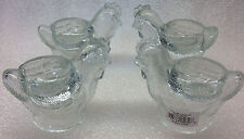 """4 egg cups clear glass chicken shaped   SET OF 4 NEW 2 """" HIGH"""