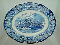 "Staffordshire Liberty Blue 14"" Meat Platter ""Washington Crossing Delaware"""