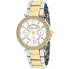 NEW MICHAEL KORS MK6055 TWO TONE GOLD MINI PARKER CRYSTALS WATCH - 2 Y. WARRANTY