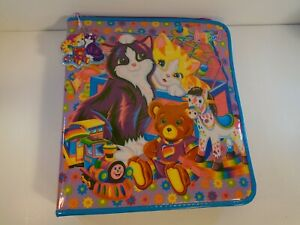 Rare Pink Variant Lisa Frank Playtime Kittens 3 Ring Binder With Puffy Key Chain