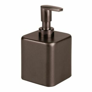 mDesign Compact Square Metal Refillable Liquid Soap Dispenser Pump - Bronze
