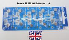 SR626SW Watch Battery x 10  Renata 377 1.55v  Mercury Free Swiss Made