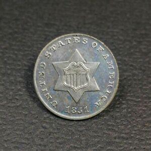1851 Three Cent Silver UNC
