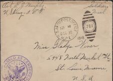 1918 AEF FREE SOLDIER'S MAIL (MPES), CENSORED, DEC. 30 TO SAINT LOUIS ADDRESS