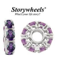 STORYWHEELS Sterling silver & amethyst charm bead - December birthstone RRP £70