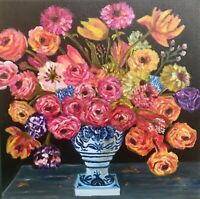 Original oil painting still life realism Bunch Of Flowers on Stretched Canvas