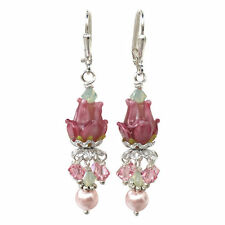 Rose of Sharon Glass Lampwork Faux Pearl Earrings with Crystal from Swarovski