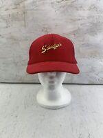 Vintage SCHAEFFER'S Specialized Lubricants Red CORDUROY Snapback Trucker Hat