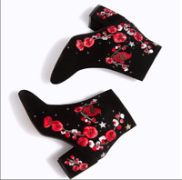 Zara Sis Stradivarius Black Embroidered LEATHER Ankle Boots Size 4 6 UK 37 39 EU