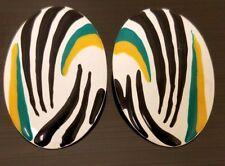Vintage Boho Chic Tribal Metal Oval White Black Green and Yellow Stripe Earrings