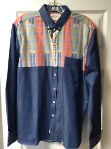 7 Diamonds Western Shirt Button Up Mens Medium Longsleeve XL Blue