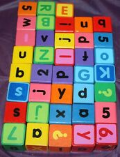 Lot Wooden Building Blocks 32pcs  Upper and Lower Case Letters Numbers Alphabet