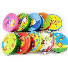 Cute Cartoon Wooden Hand Drum Rattles Mini Beat Musical Instrument Baby Kids Toy