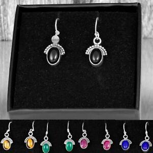 925 Sterling Silver Onyx Half Moon Ear Drop Dangle Oval Earrings Hook Gift Boxed