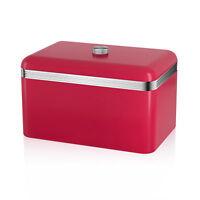 Swan Retro Red Bread Bin Fresh Baked Goods Loaf Kitchen Food Storage Container