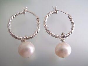2 x 25mm Sterling Silver half round twist hoop w/ 8.5-9 mm pearl charm earrings