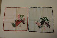 Vintage Ladies Hankies Lot Of 2 Japanese Beautiful Scenes Crochet Handkerchiefs