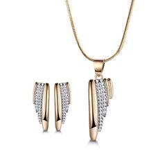 18K Silver & Gold Filled Waterfall Swarovski Crystal Women Necklace Earrings SET
