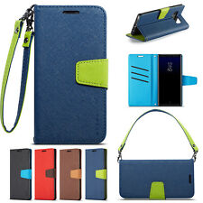 W/strap Flip Leather Wallet Card Holder Case Cover For Samsung Note 9/S10+/S9/S8