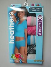 Fruit of the Loom Women's 6-Pack Multi-color Heathers Briefs Underwear Size 7/L