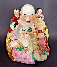 Large Laughing Buddha With Children - Hand Painted Jizo Figurine Statue