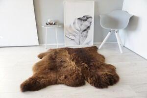 Genuine Natural Double Side by Side Sheepskin Rug | Soft Wool | Brown SBN 26