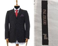 Mens PAL ZILERI Pull Blazer Coat Tailored Jacket Wool Striped Black Size 40 50