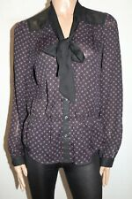 HOT OPTIONS Brand Black Plum Bow Neck Chiffon Blouse Size 16 BNWT #SM76