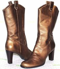 ✿ GIANNI BINI Territory Western Bronze Leather Boots 7.5 M EXCELLENT! L@@K!30