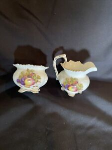 "Aynsley Cream Jug & Sugar Bowl Made In England Design ""Summer Fruits """