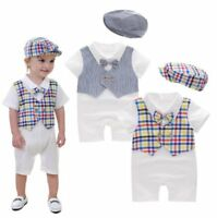 Baby Boy Christening Wedding White Tuxedo Suit Outfit Romper Clothes+HAT Set