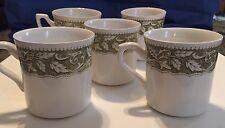 Vintage J & G MEAKIN Bundle (5) Green Floral Print Coffee Cups Mug