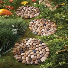 Set of 3 River Rock Stepping Stones Lawn Garden Decor NEW