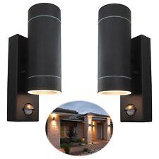 2 x Security PIR Sensor Porch Outside Wall Door Patio House Garden Light - BLACK