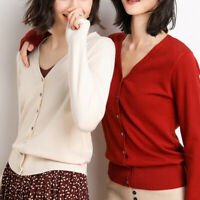 Women Basic Long Sleeve V-Neck Knit Sweater Top Cardigan Summer Tops Size S-2XL