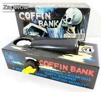 COFFIN BANK 1980s Spooky Money Box Everlast Wind-Up Novelty Toy No:523 China 80s