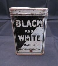 Vintage Black And White Roll Cut Smoking Tobacco Tin Litho, Empty