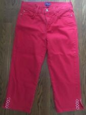 NYDJ Not Your Daughters Jeans Red Crop Rhinestone Detail Sz 4 (II#1579)