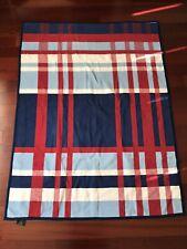 IBENA Blue Red Plaid Woven Cotton Blend Velour Reversible Throw Blanket Germany