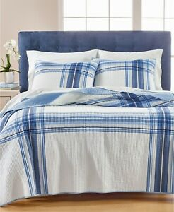 Martha Stewart KING Quilt Engineered Plaid Reversible Cotton BLUE A08095