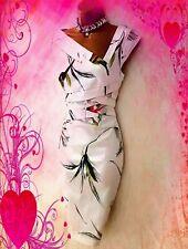 KAREN MILLEN STUNNING SATIN WHITE FLORAL STRETCH WIGGLE EVENING DRESS UK 12 VGC