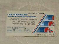 RARE 1985 QUEBEC NORDIQUES vs RED ARMY HOCKEY TICKET STUB COLISEUM USSR