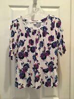 Liz Claiborne womens size Medium white Purple Pink Floral Sleeve Blouse Top