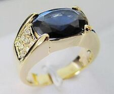 18K Gold Filled Mens Anniversary Rings Fashion Size 9 Aaa Blue Sapphire