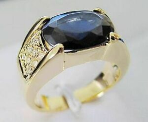 Fashion Size 9 AAA Blue Sapphire 18K Gold Filled Mens Anniversary Rings