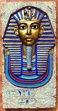 HAND PAINTED STONE KING TUT MASK ANCIENT EGYPTIAN WALL DECOR SCULPTURE PLAQUE