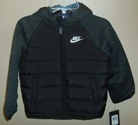Nike Boys Size 4 XS Jacket Coat Black New Hooded 86B910-K25