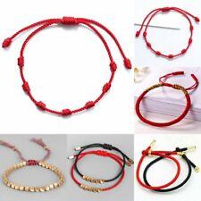 Unisex Good Luck String Bracelet Kabbalah Amulet 7 Knot Tibetan Buddhist Bangles